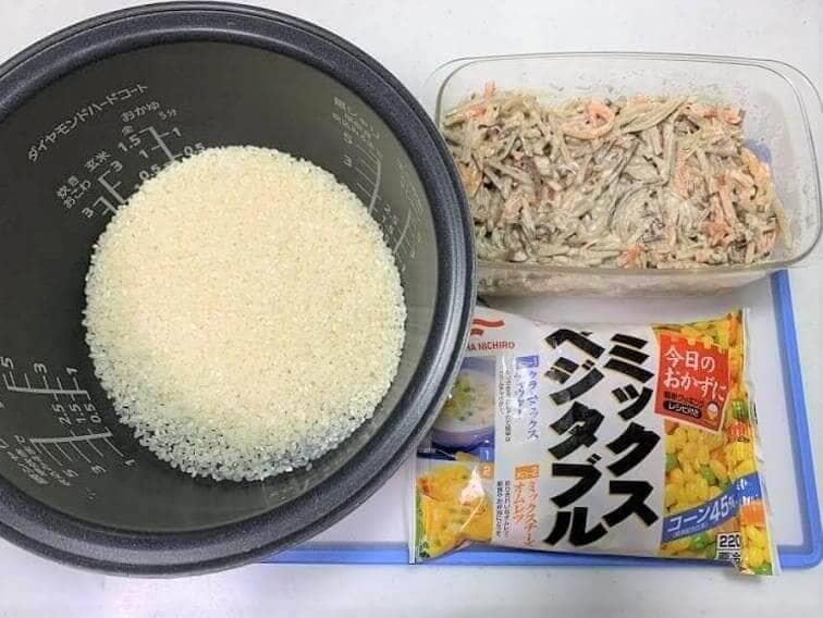 ごぼうサラダで作る炊き込みご飯の材料