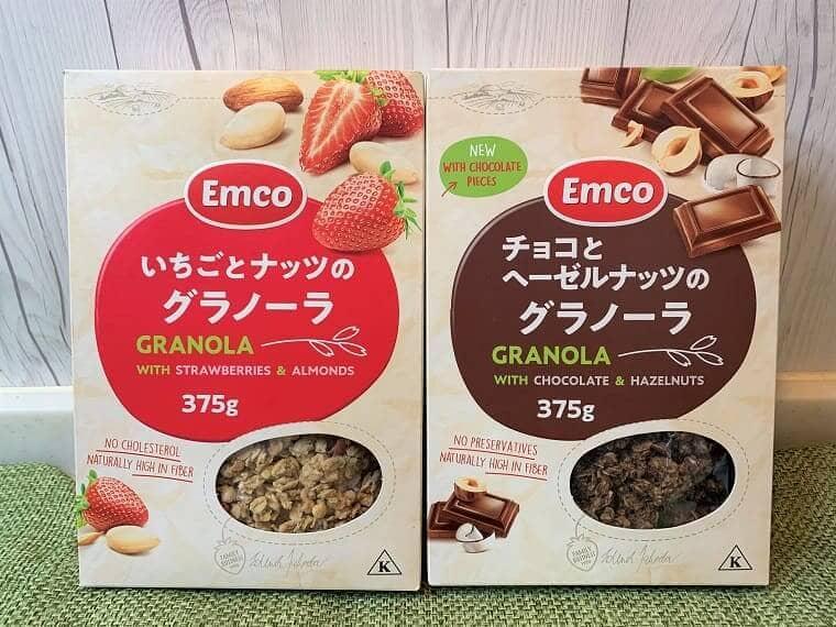 業務スーパーのチョコとヘーゼルナッツのグラノーラといちごとナッツのグラノーラパッケージ