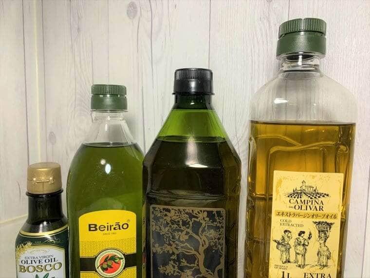 業務スーパーのオリーブオイル3種とボスコのバージンエキストラオリーブオイル