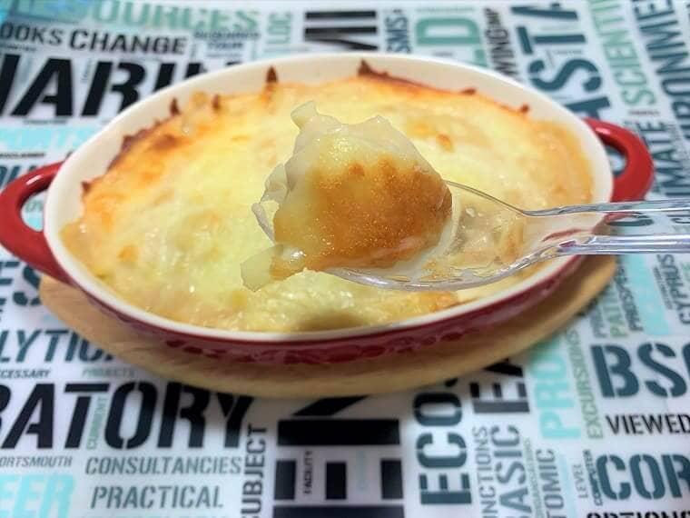 業務スーパーのホワイトソースとフェットチーネで作ったクリームドリア
