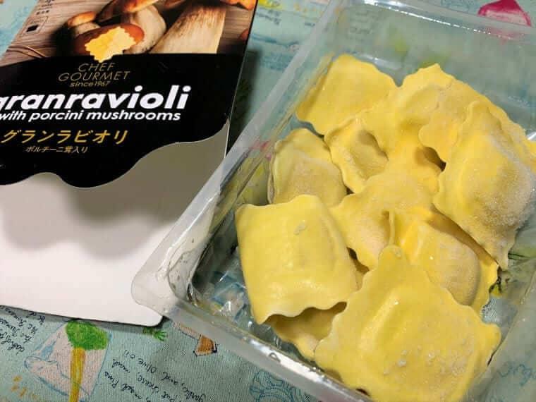業務スーパーのラビオリポルチーニ茸入りのアップ写真
