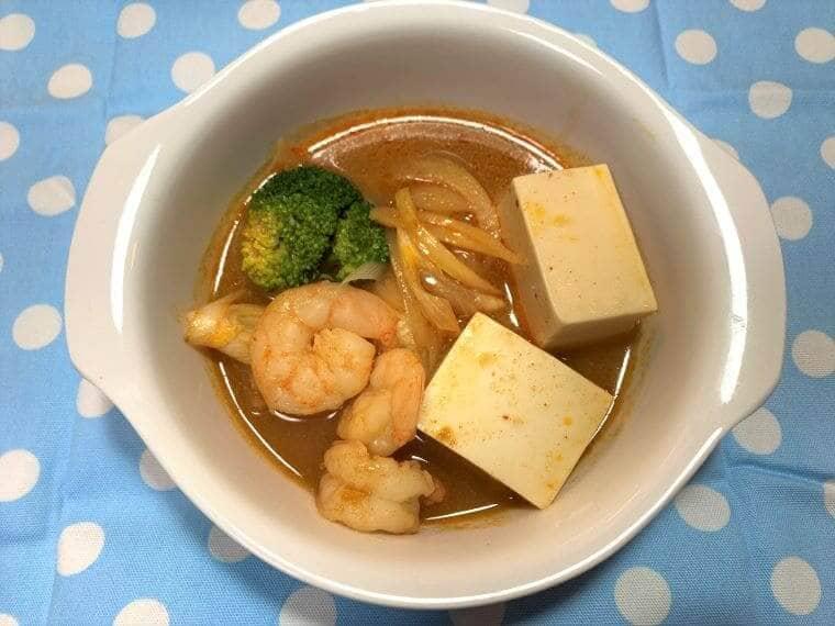 業務スーパーの豆腐とエビで作った海鮮スンドゥブ