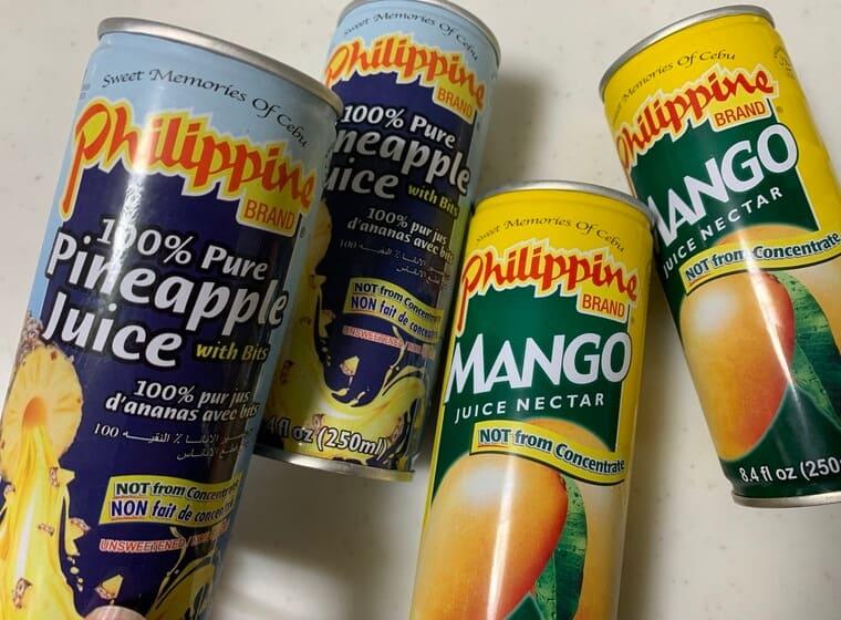 業務スーパーのパイナップルジュースとマンゴーネクター